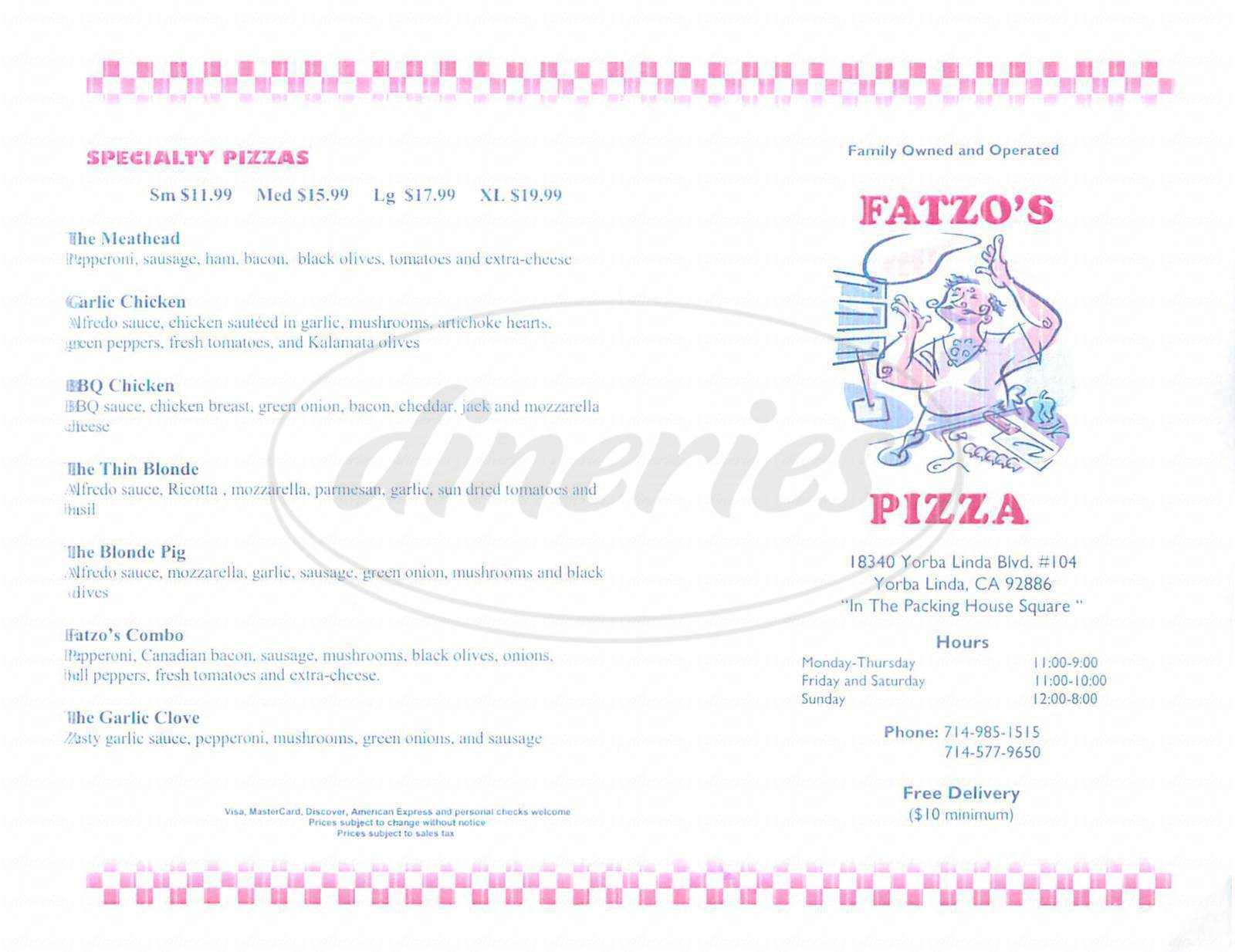menu for Fatzo's Pizza