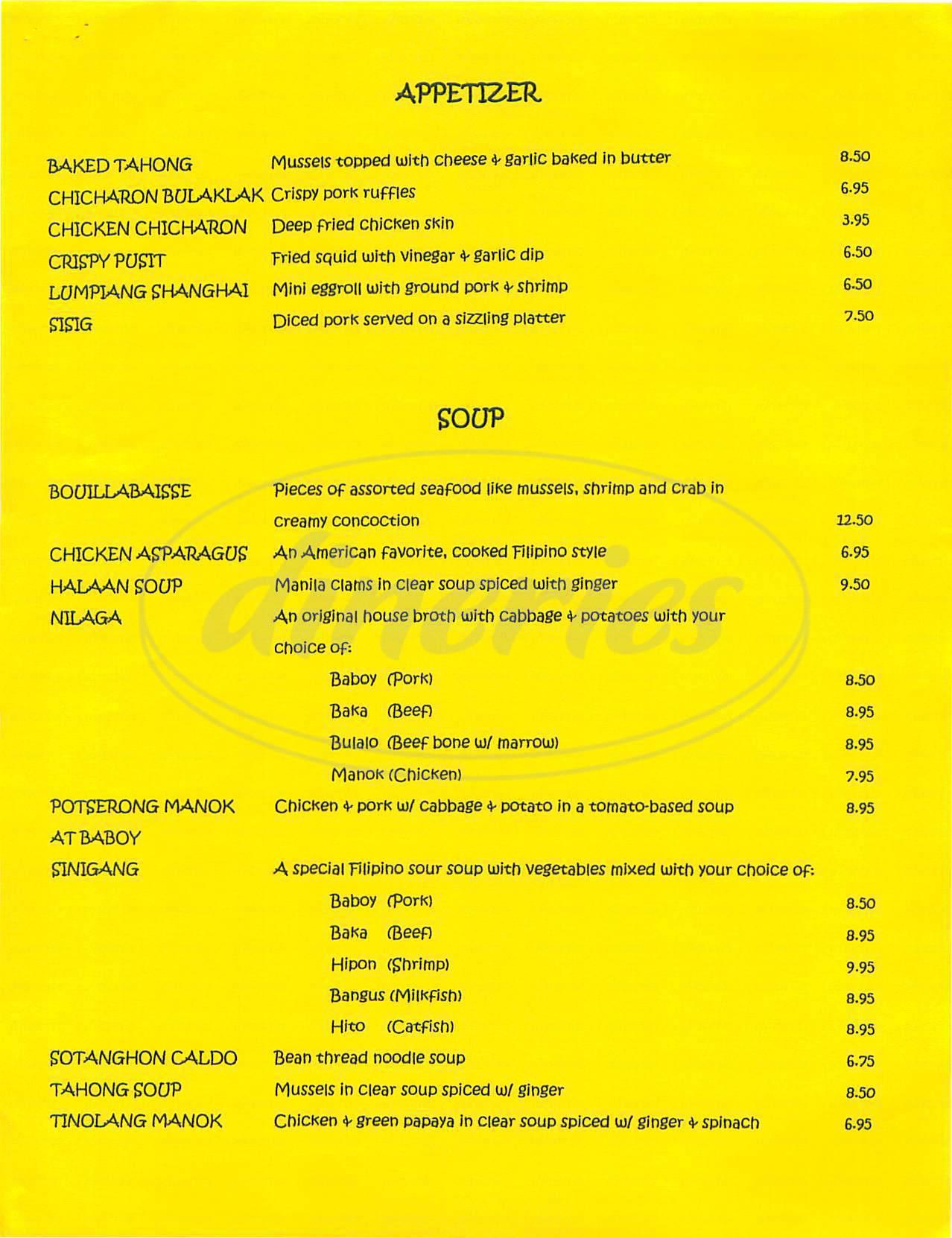 menu for Fiesta Sa Barrio