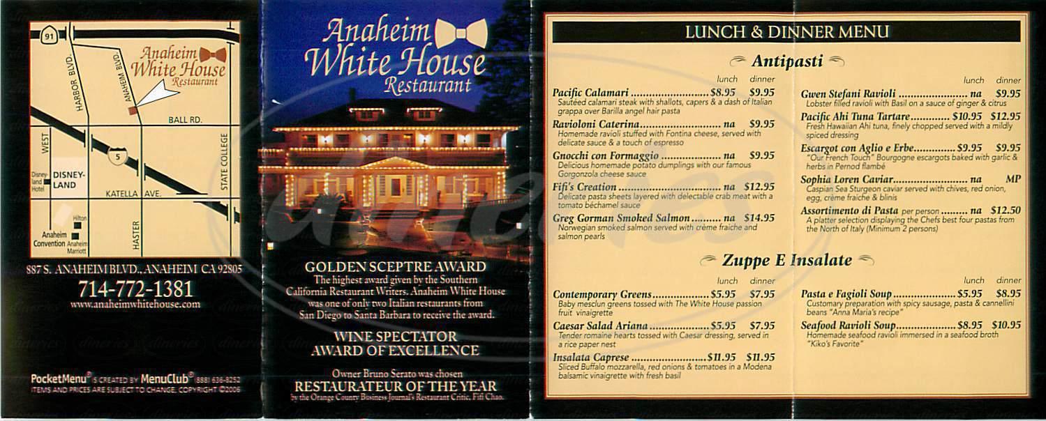 menu for Anaheim White House Restaurant