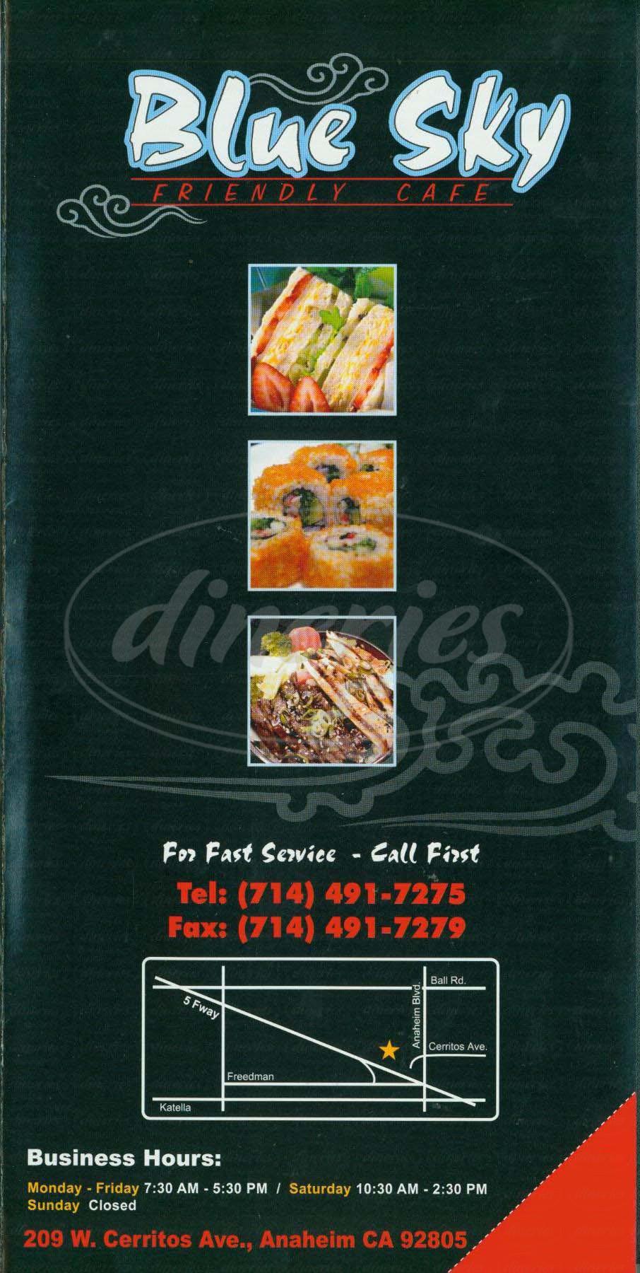 menu for Blue Sky Café