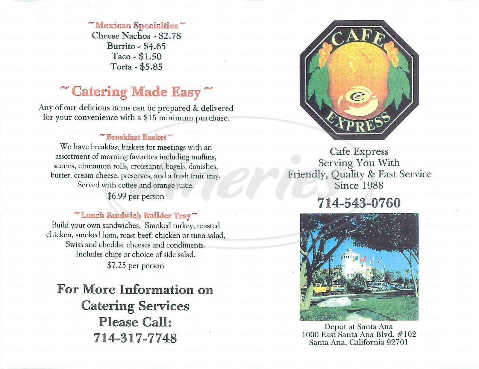 menu for Café Express