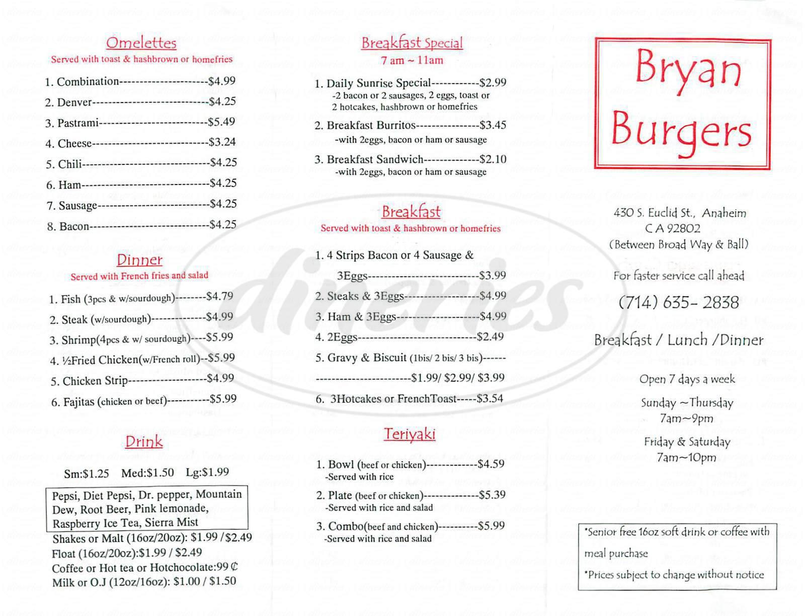 menu for Bryan Burgers