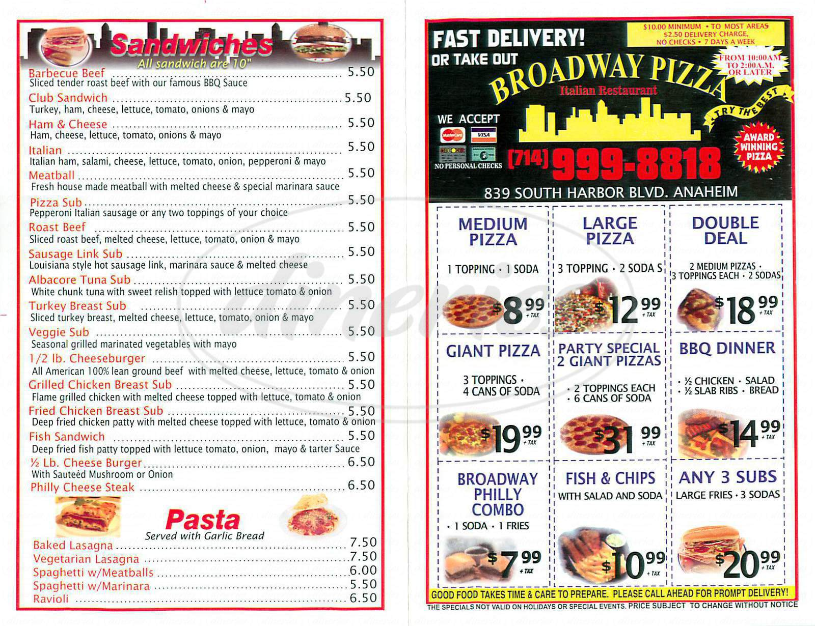 menu for Broadway Pizza