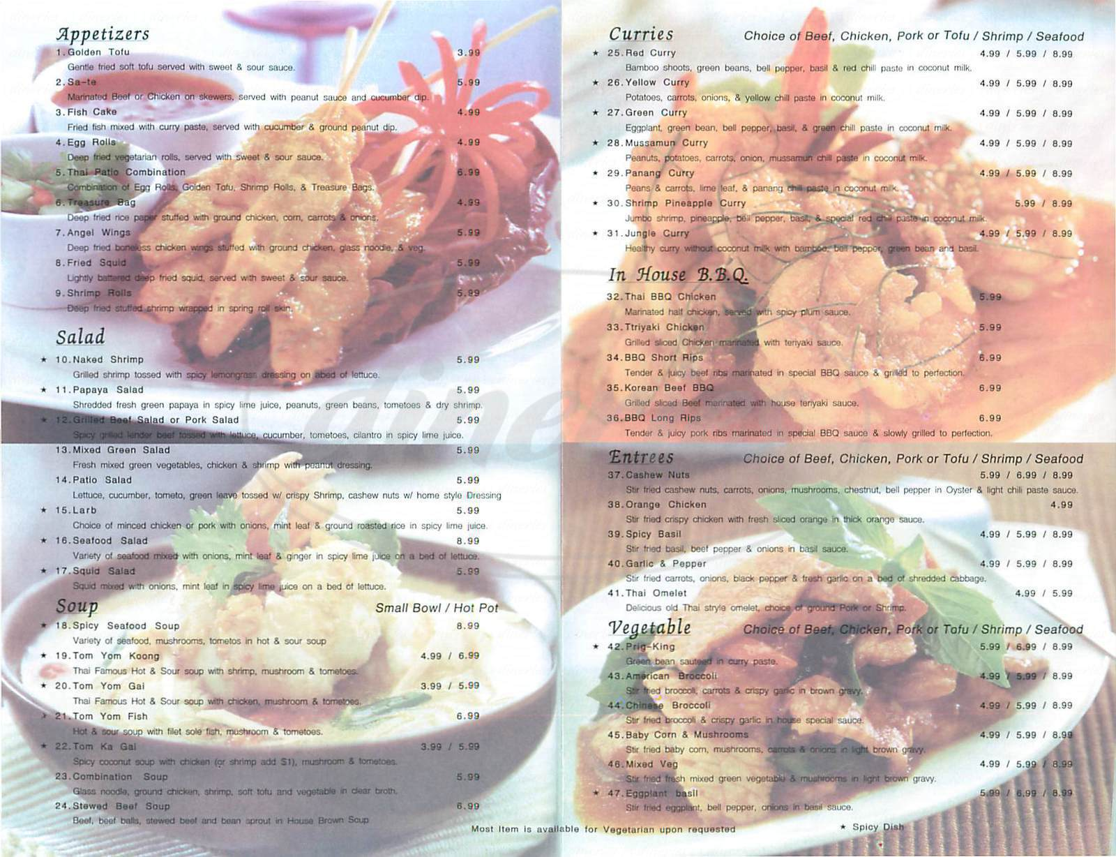 menu for Thai Patio