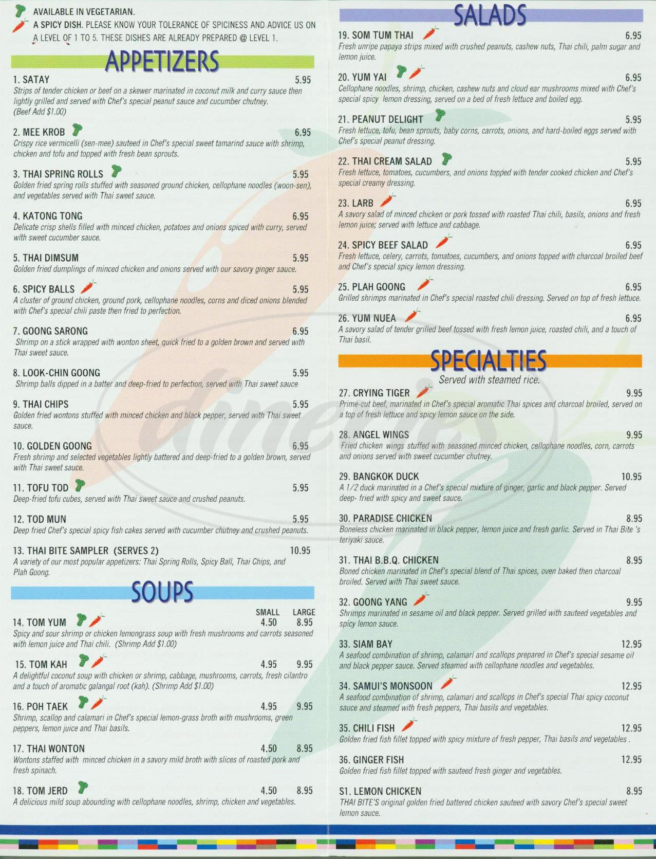 menu for Thai Bite