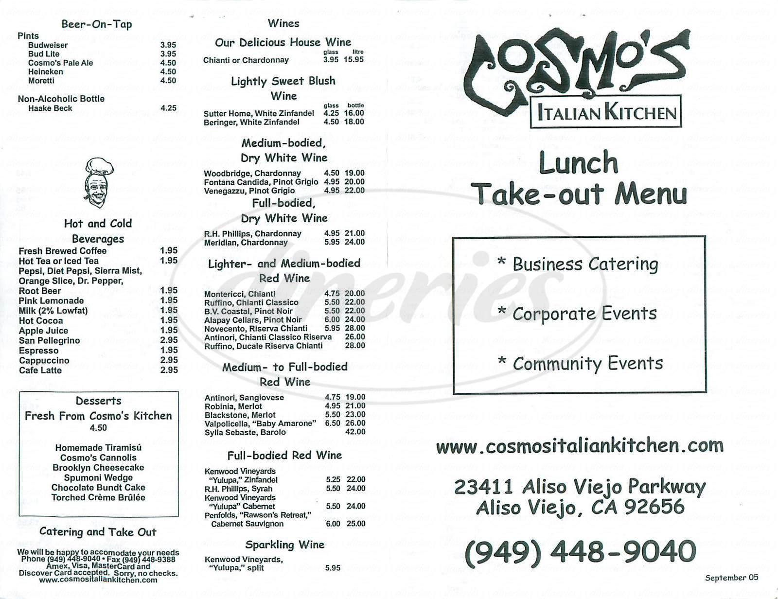 menu for Cosmo's Italian Kitchen