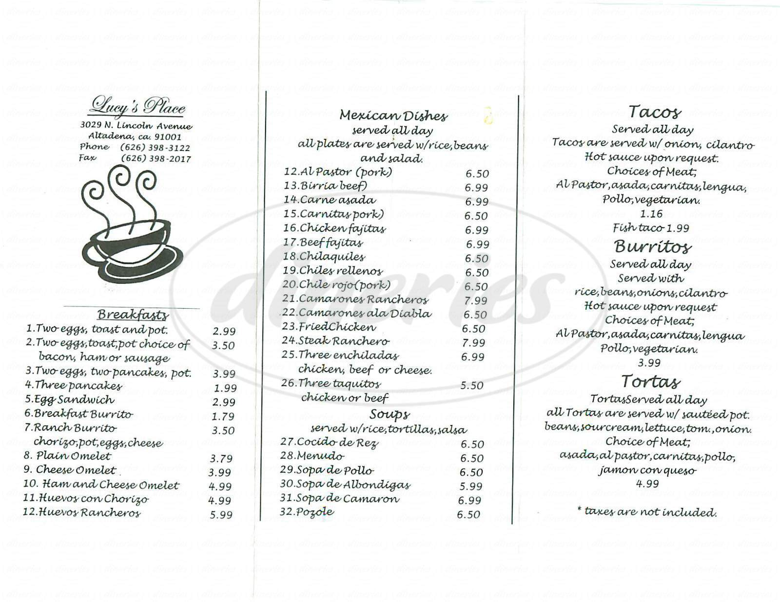 menu for Lucys Place