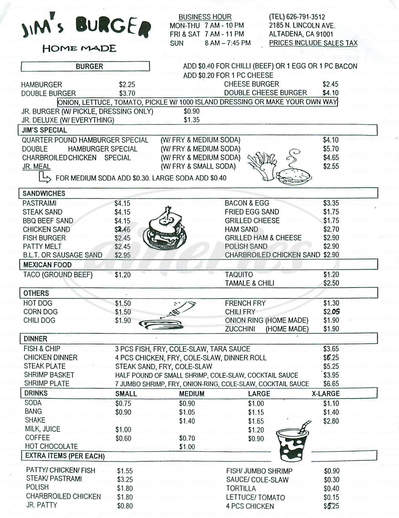 menu for Jims Burgers