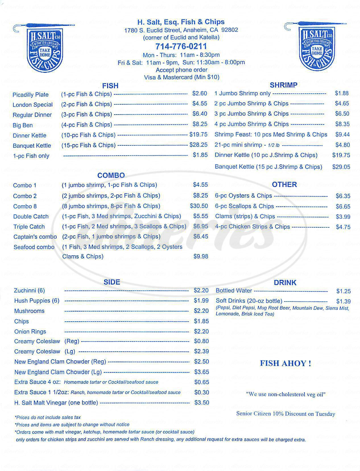 menu for H Salt Esq Fish & Chips