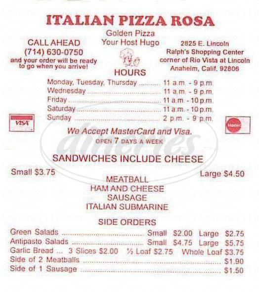 menu for Italian Pizza Rosa