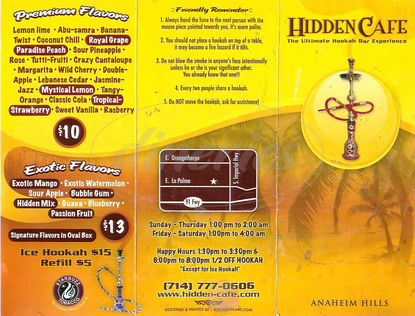 menu for Hidden Café