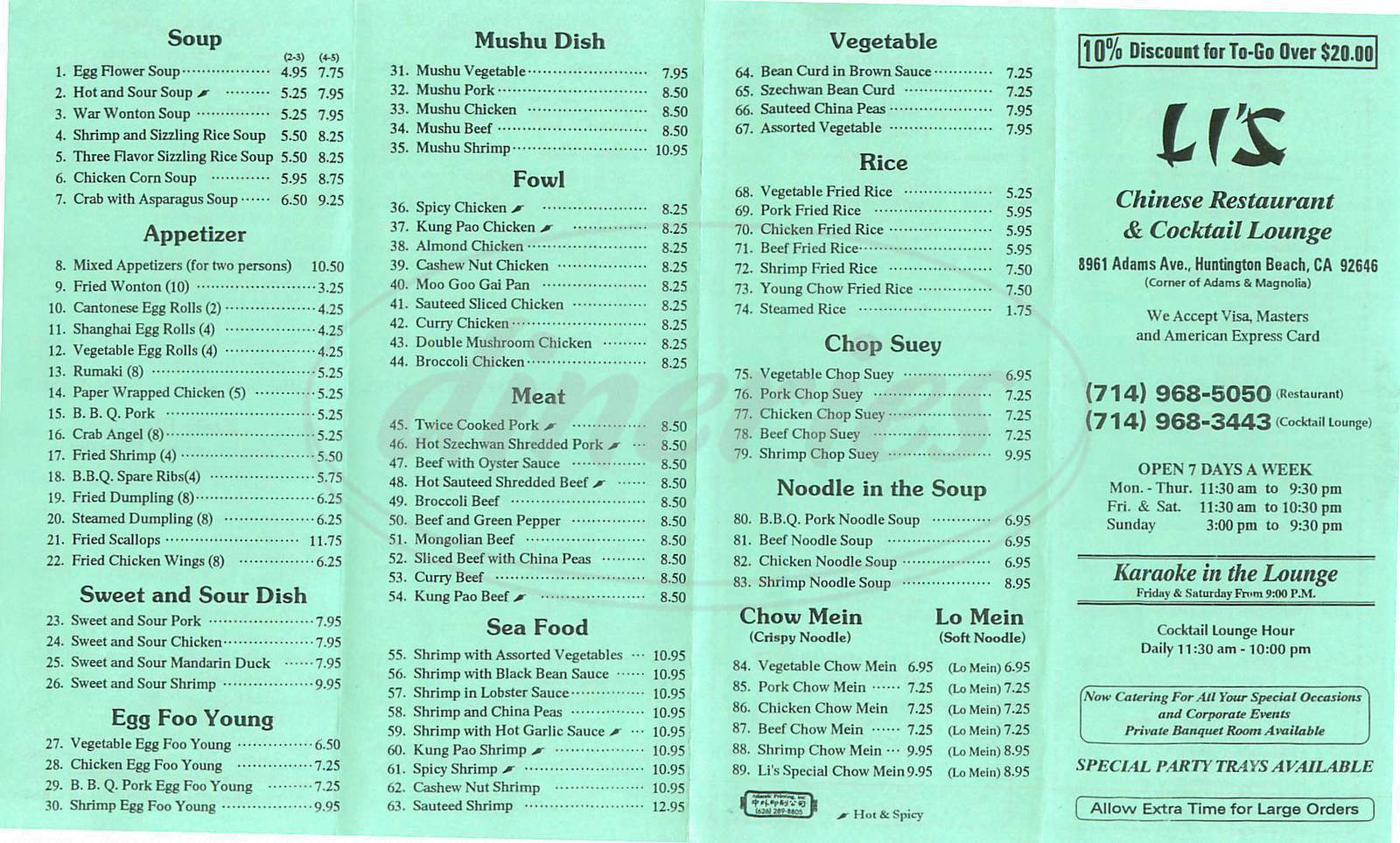 menu for Li's Restaurant