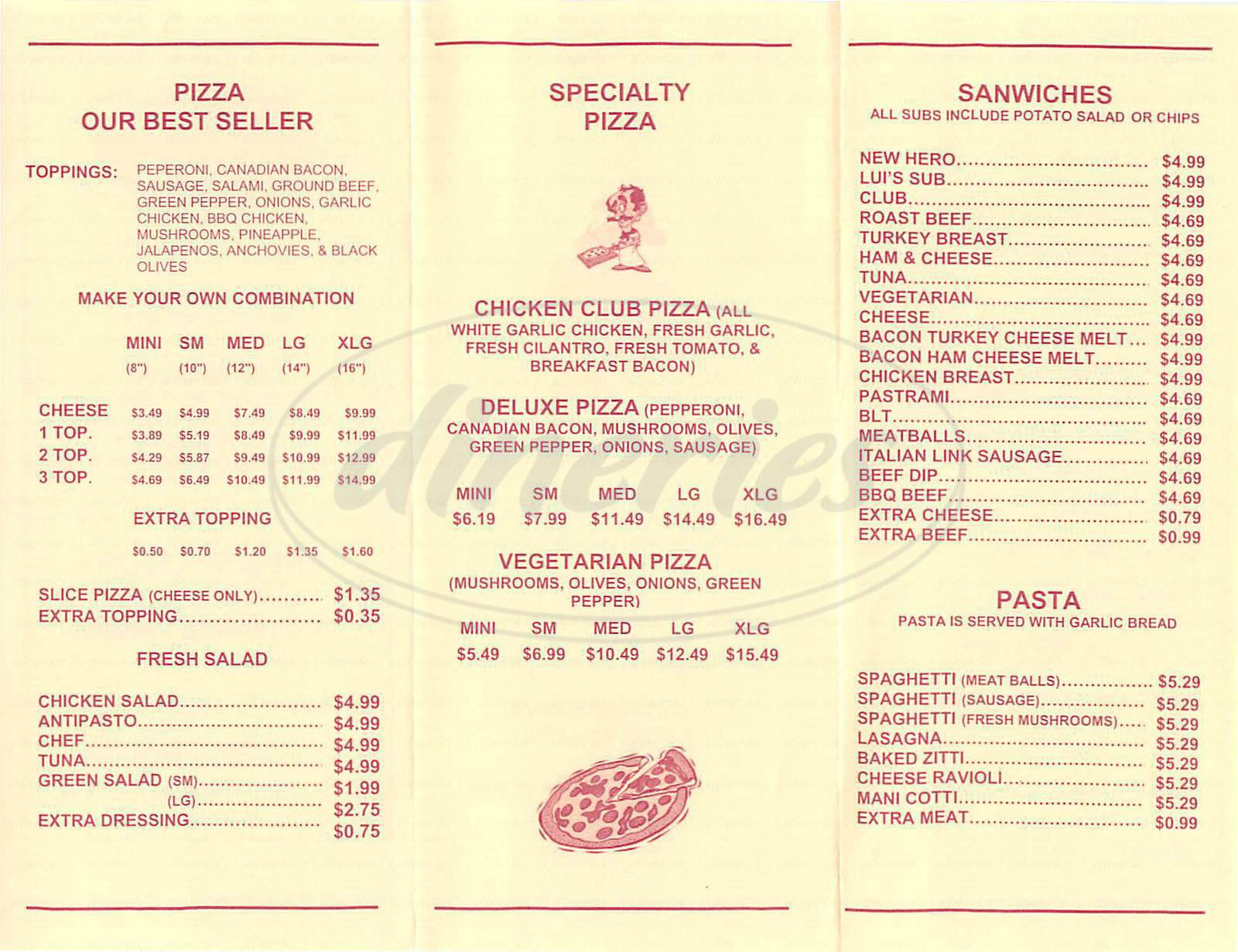 menu for Luis Pizza & Subs