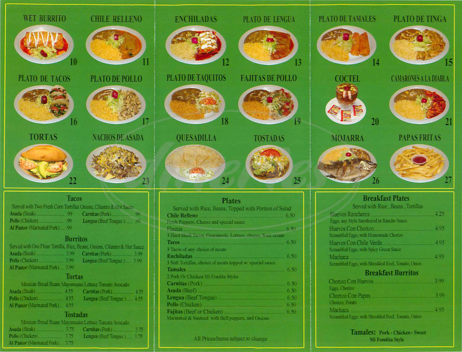 menu for Mi Fondita