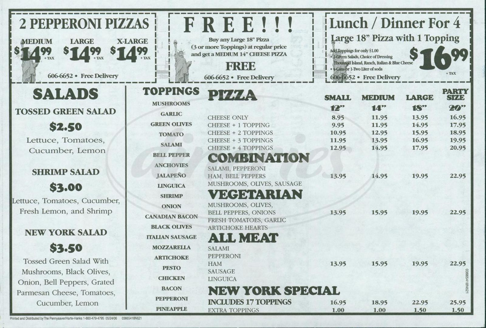 menu for Best New York Pizza