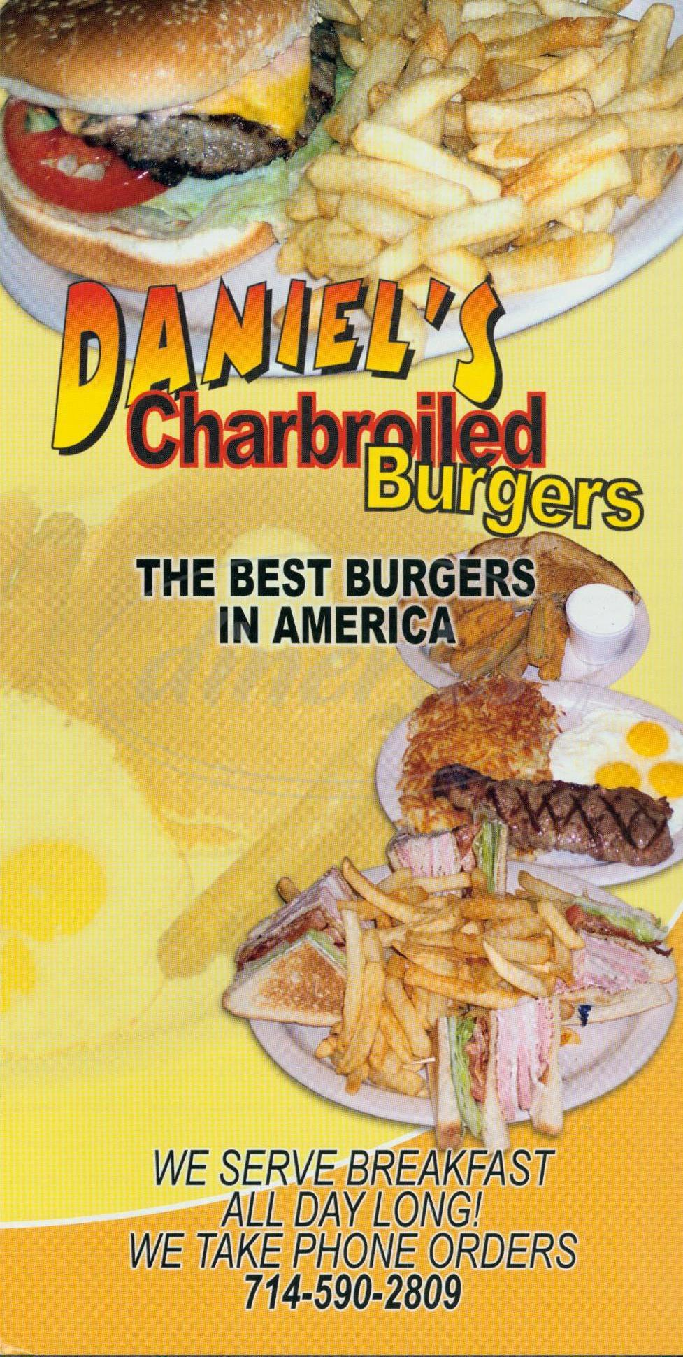 menu for Daniels Charbroiled Burgers