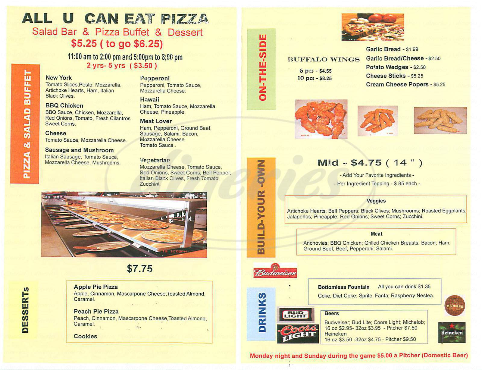 menu for All U Can Eat Pizza