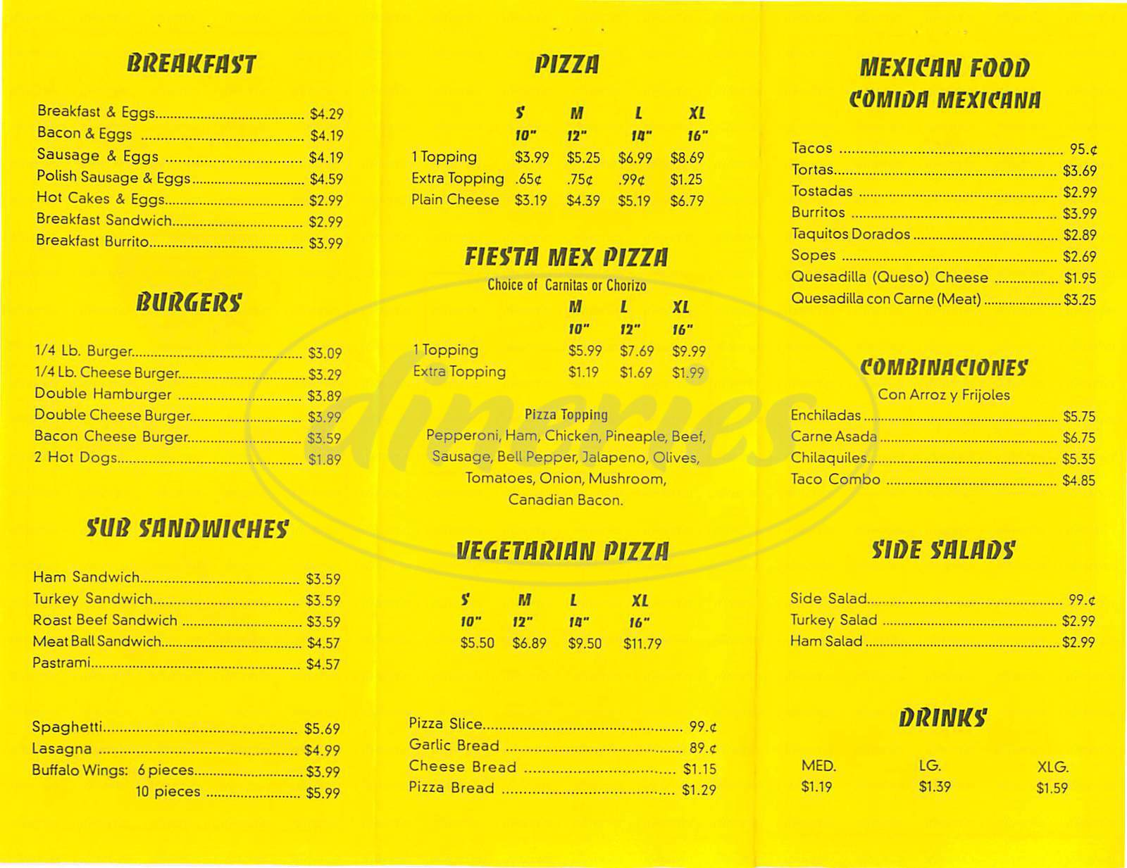 menu for Fiesta Place Pizza
