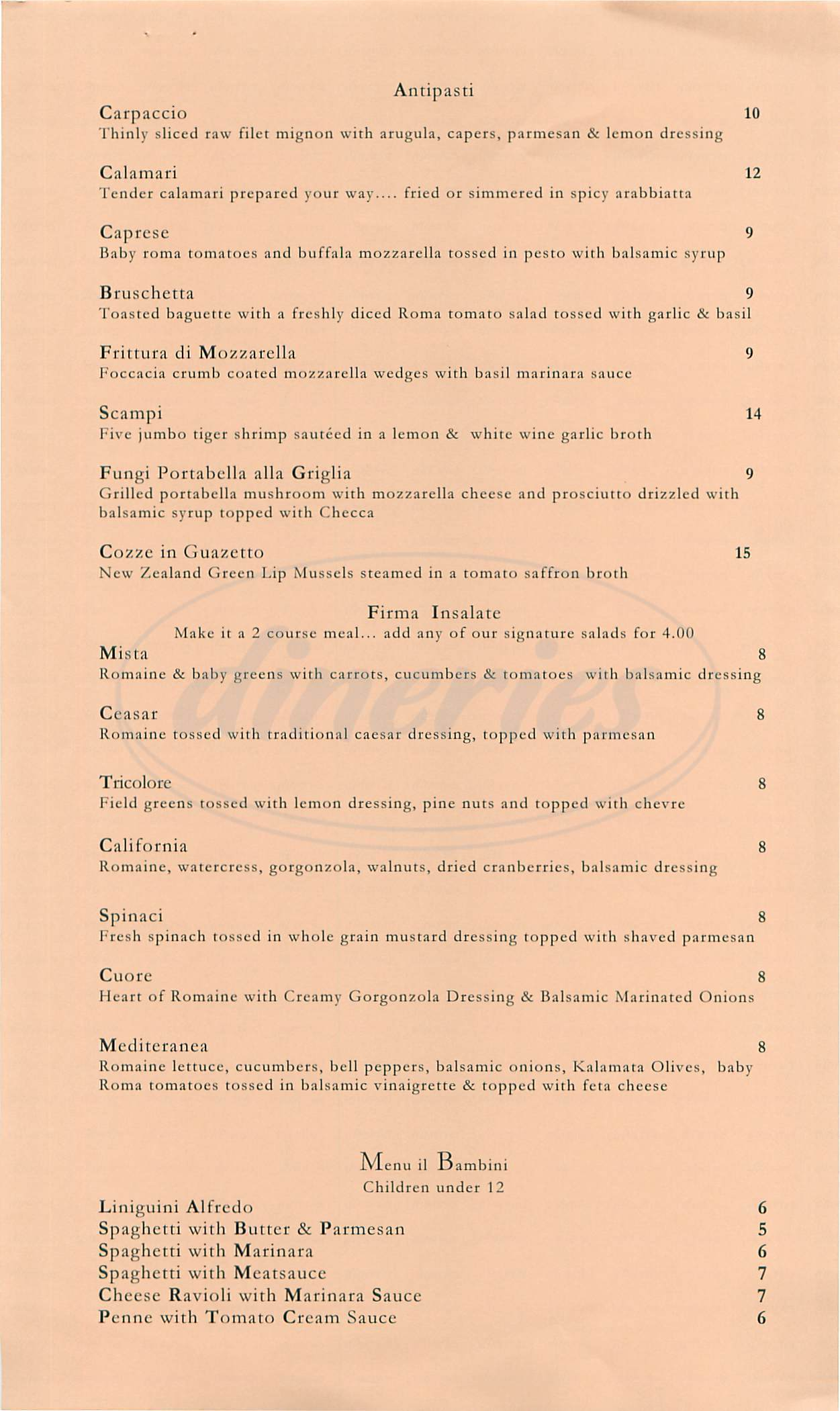 menu for Foscari Italian Cuisine