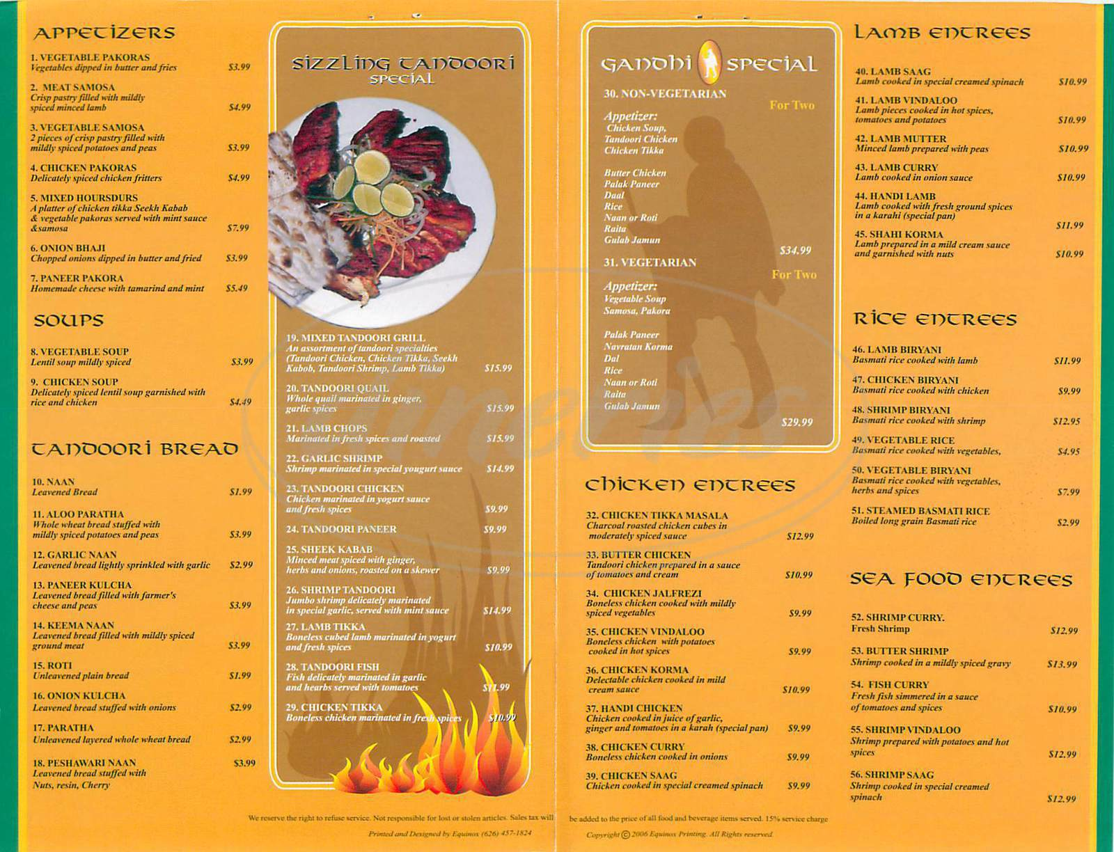 menu for Gandhi Palace