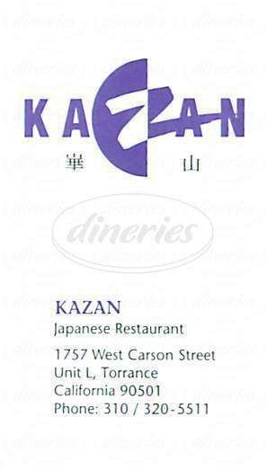 menu for Kazan Restaurant