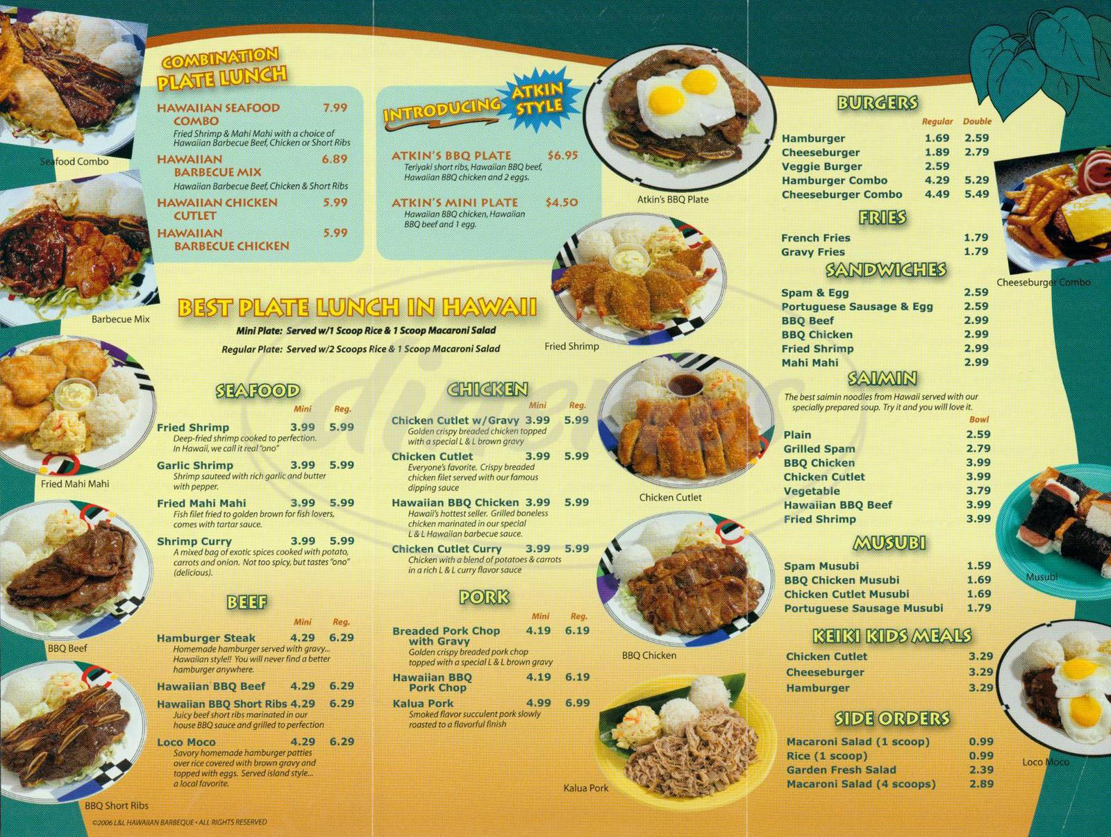menu for L & L Hawaiian Barbecue
