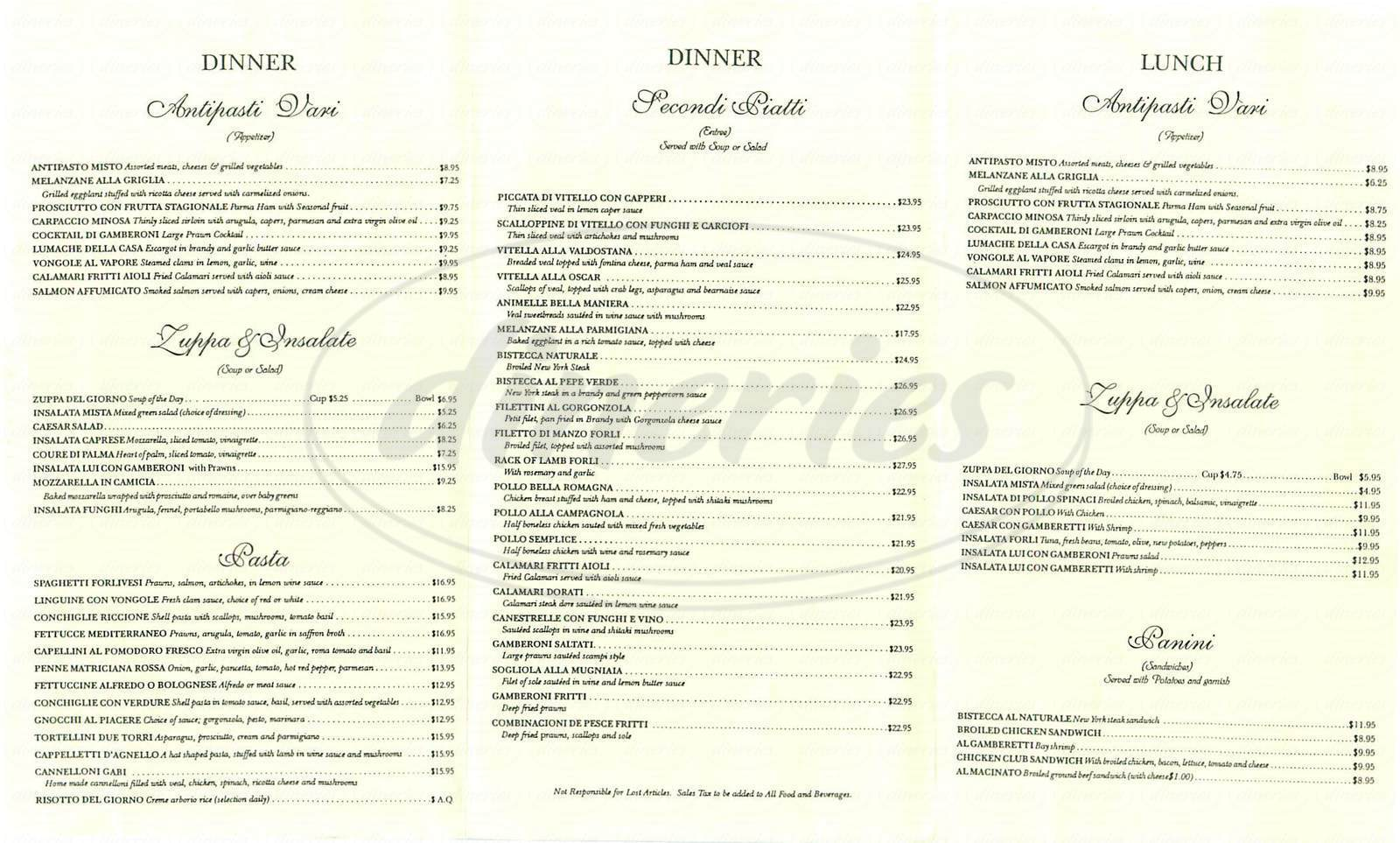 menu for Forli Ristorante & Bar