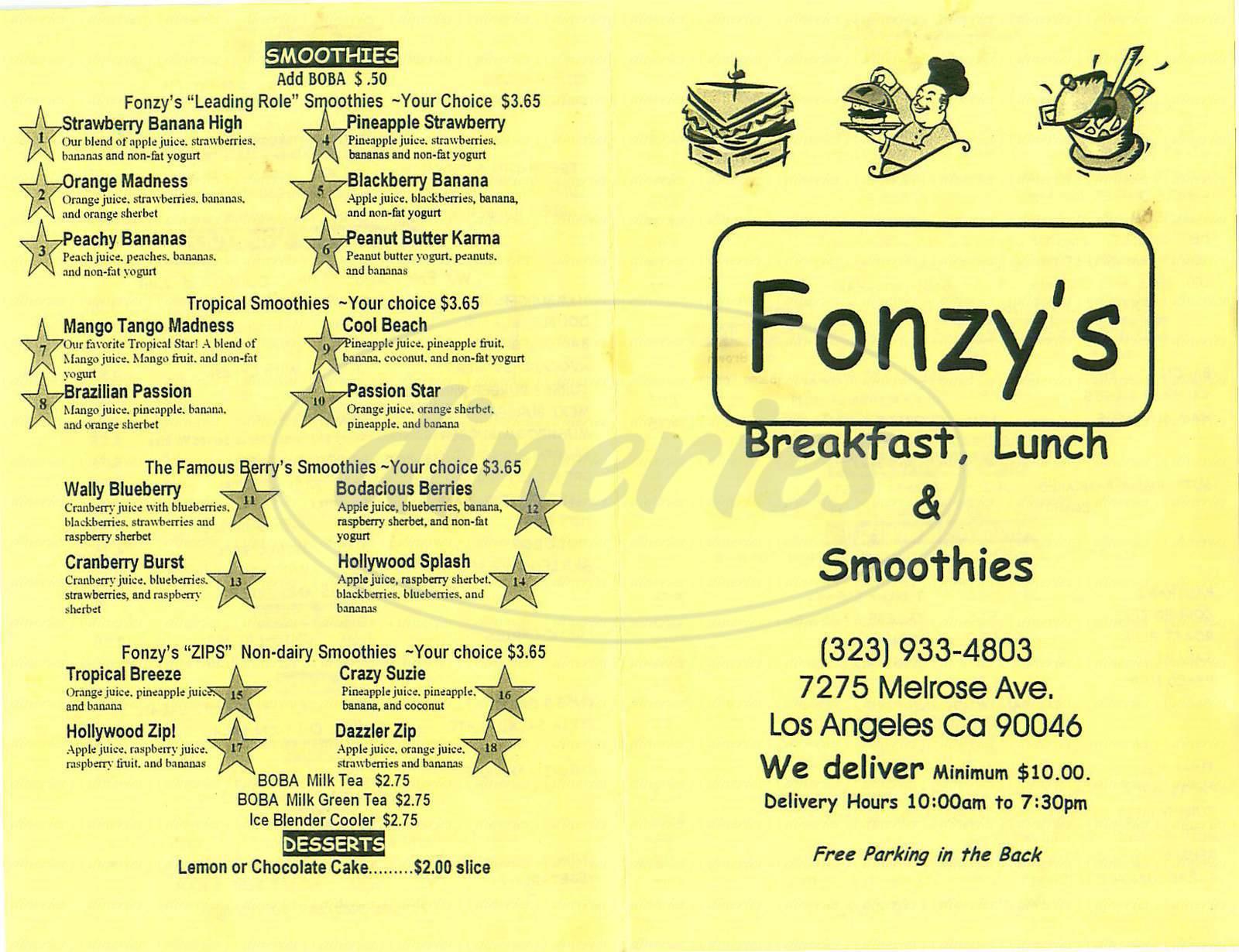 menu for Fonzy's