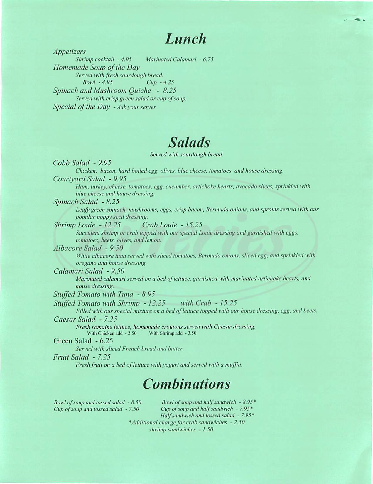 menu for Courtyard Café