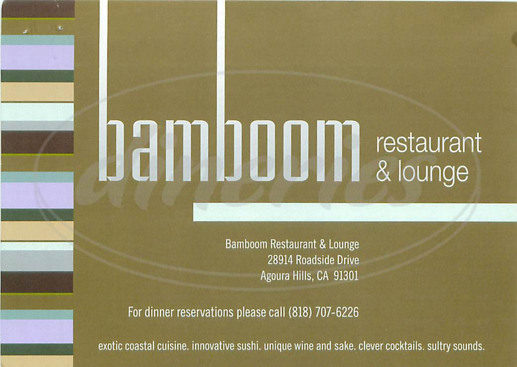 menu for Bamboom Restaurant & Lounge