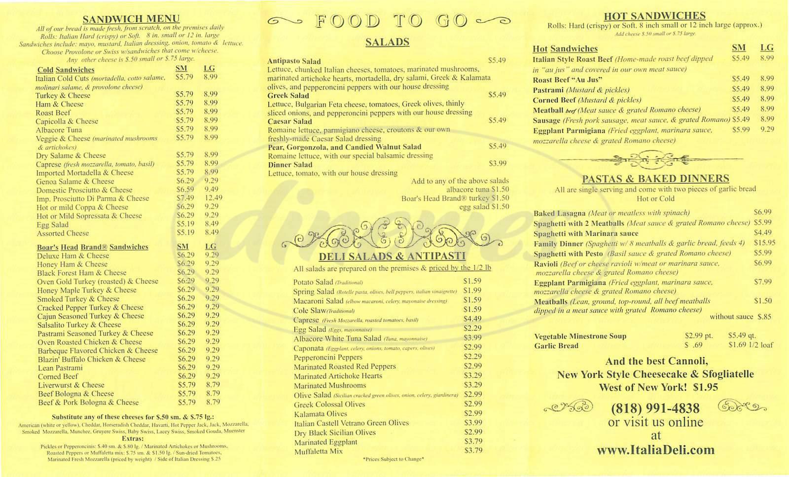 menu for Italia Deli and Bakery
