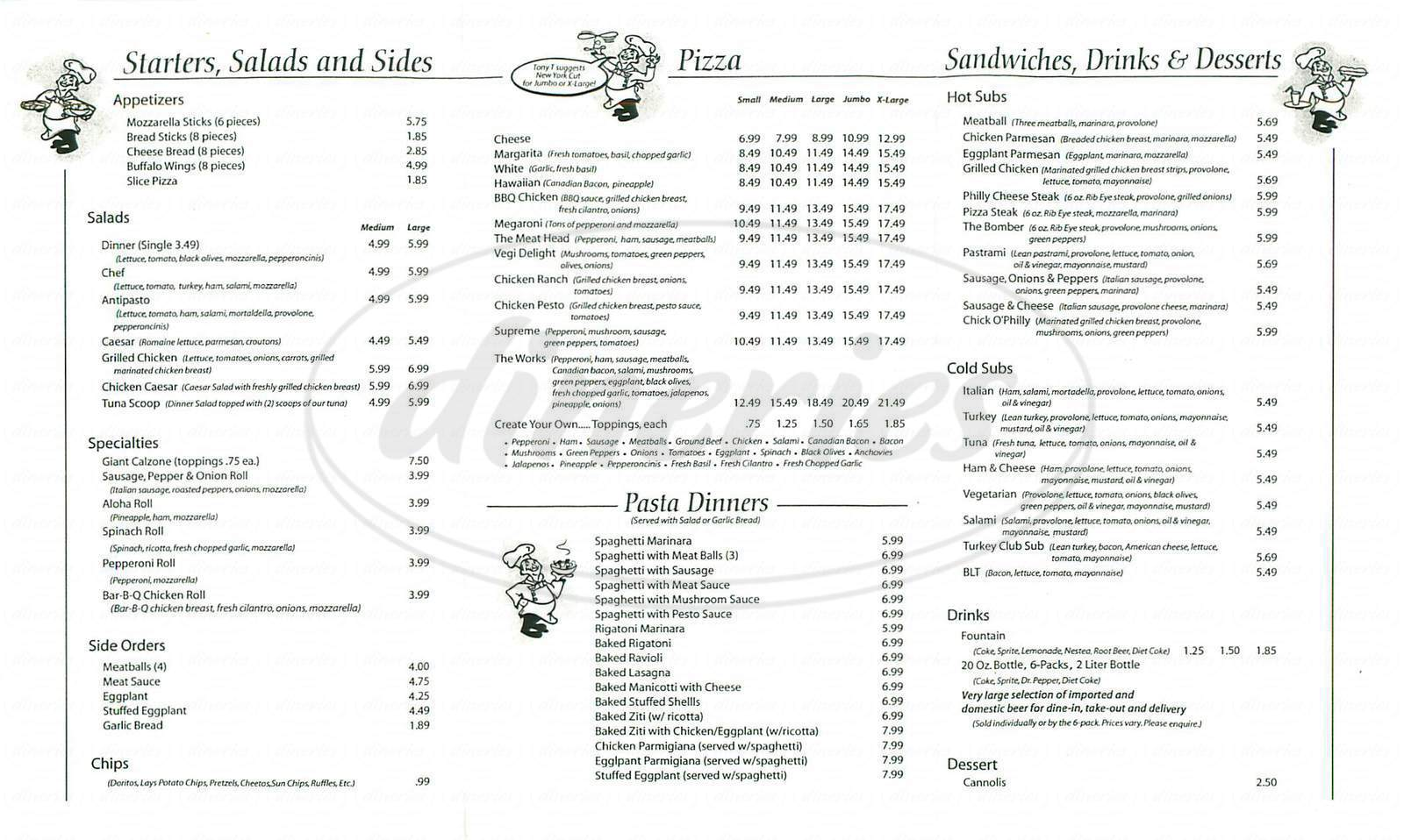 menu for Winners Pizza & Pasta