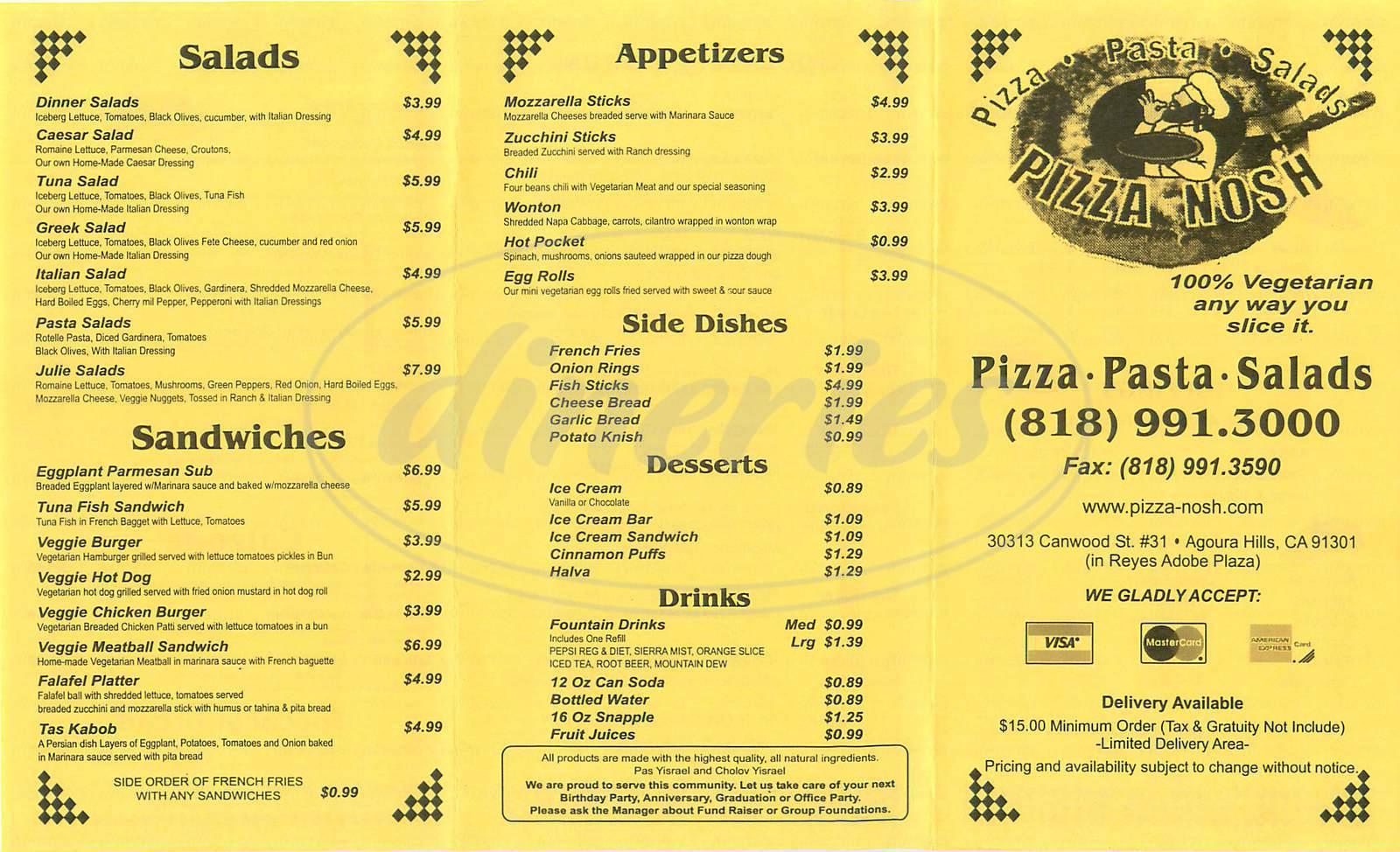 menu for Pizza Nosh