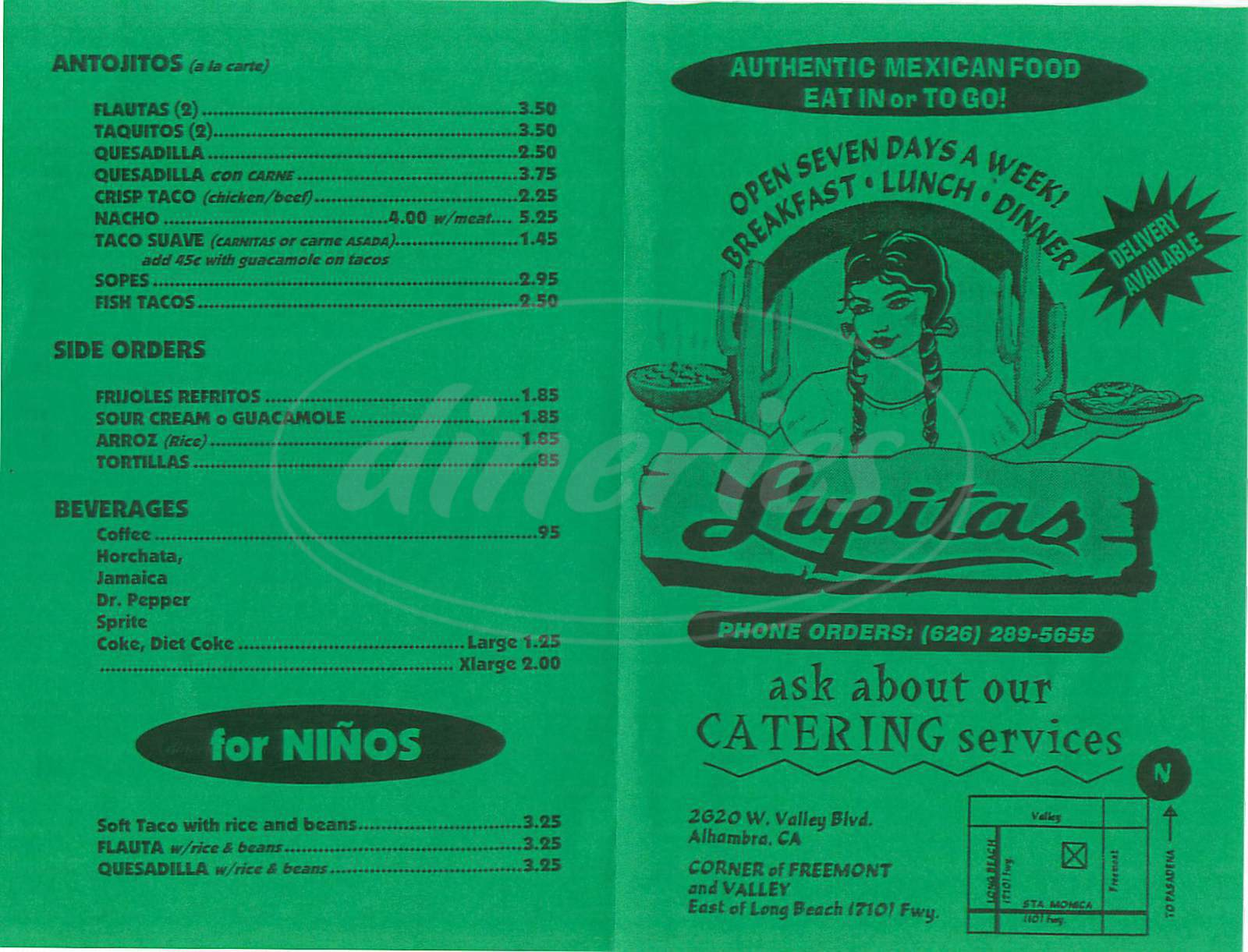 Lupitas Mexican Restaurant Menu
