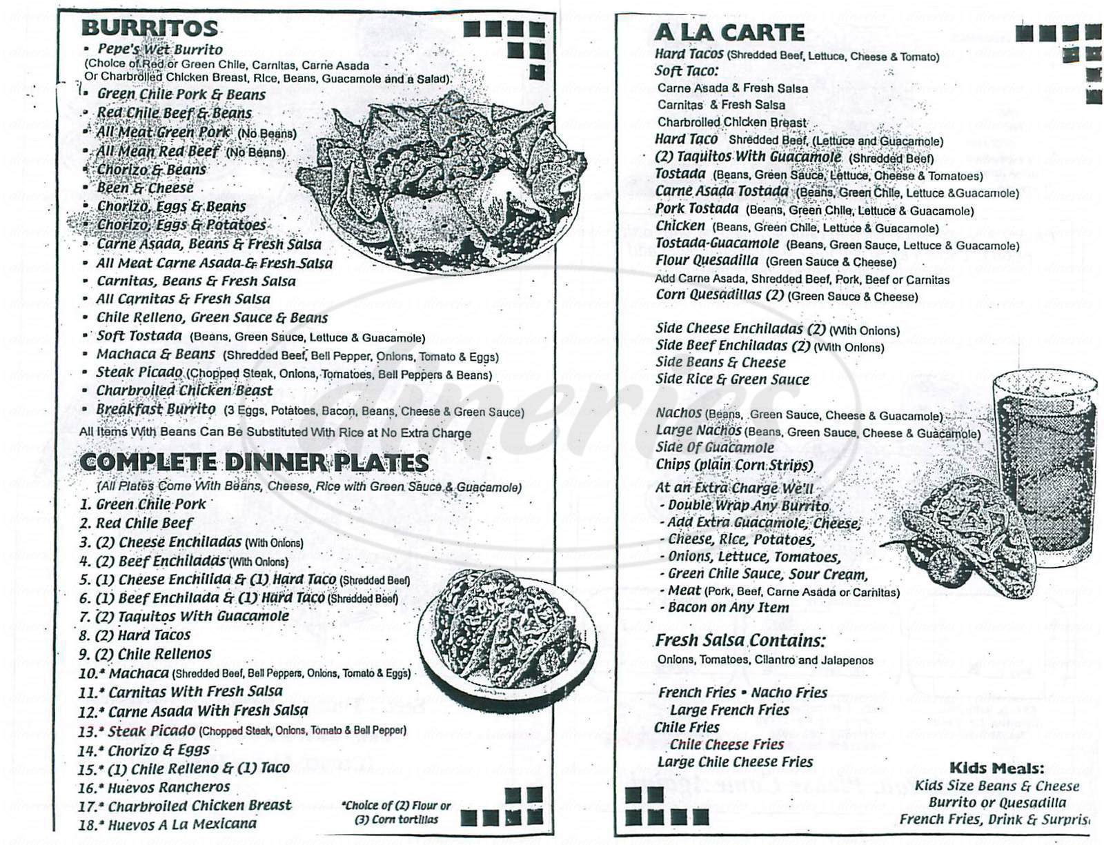 menu for Pepes Mexican Food