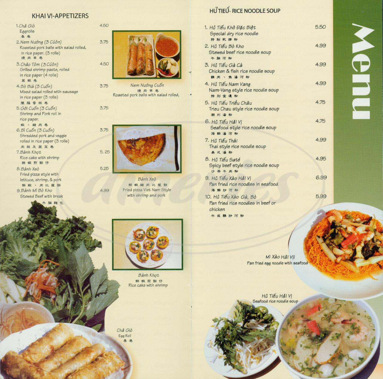 menu for Nha Trang Restaurant