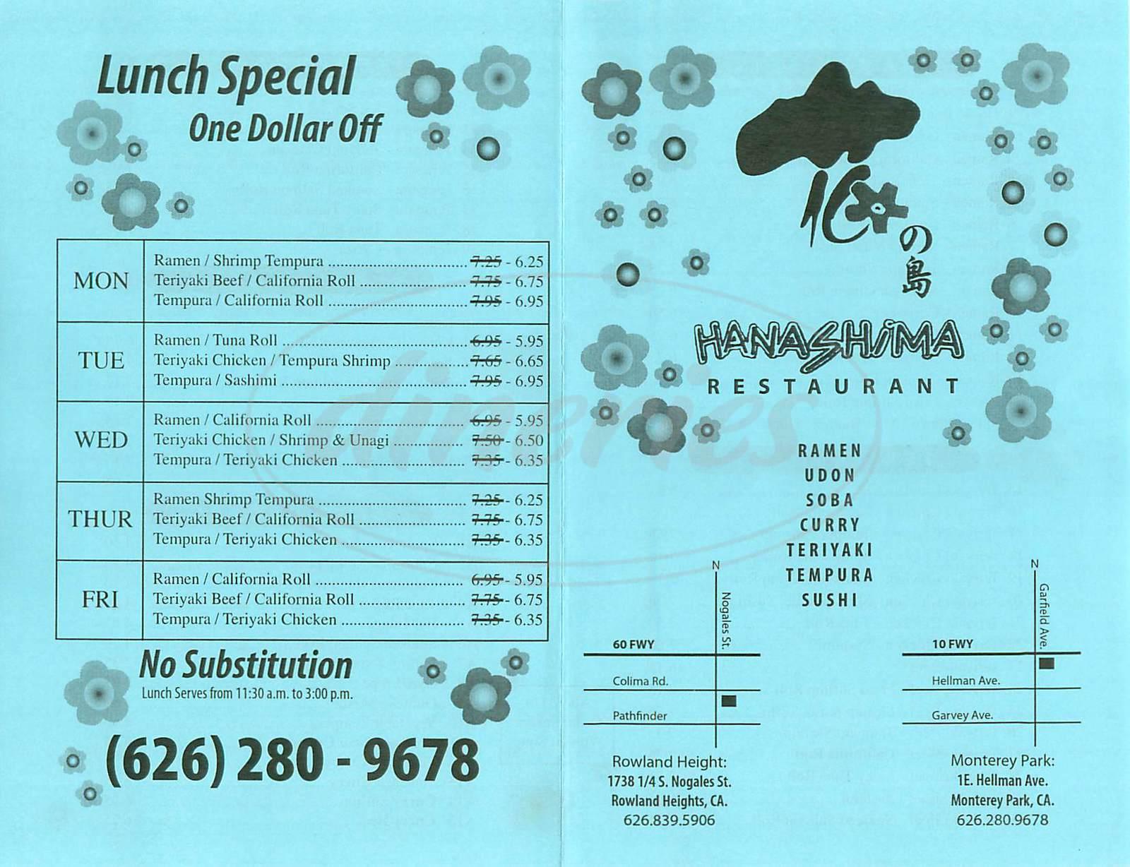 menu for Hanashima Restaurant