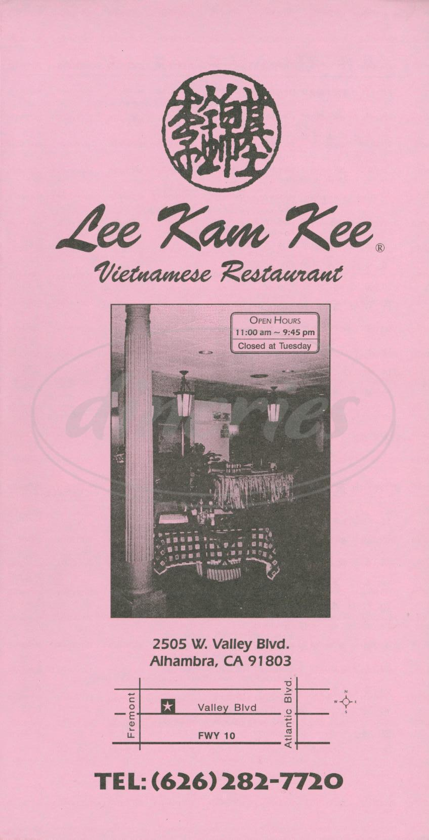 menu for Lee Kam Kee