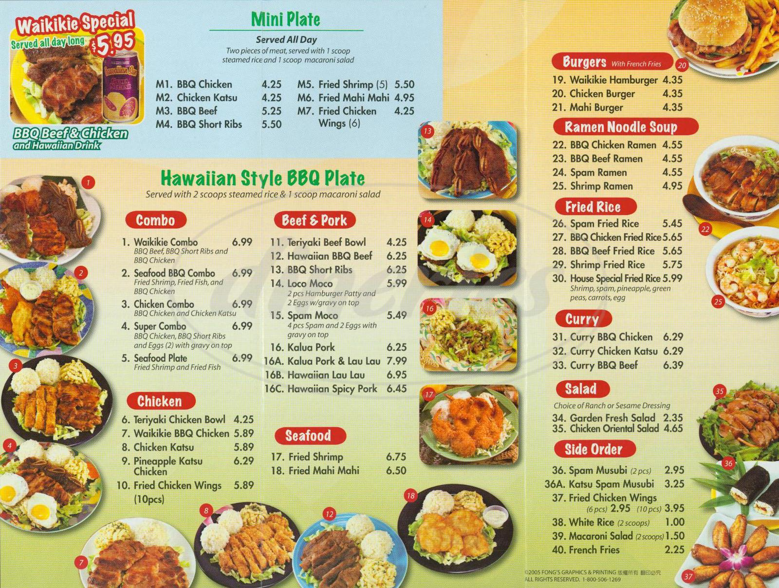 menu for Waikikie Hawaiian BBQ