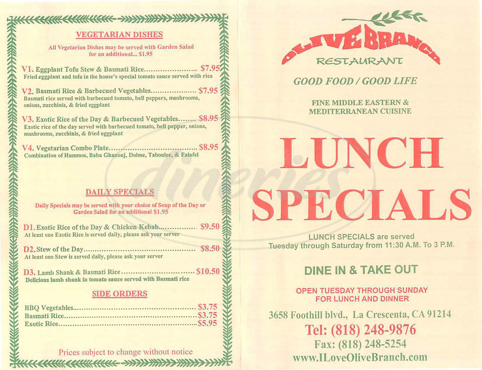 menu for Olive Branch Restaurant