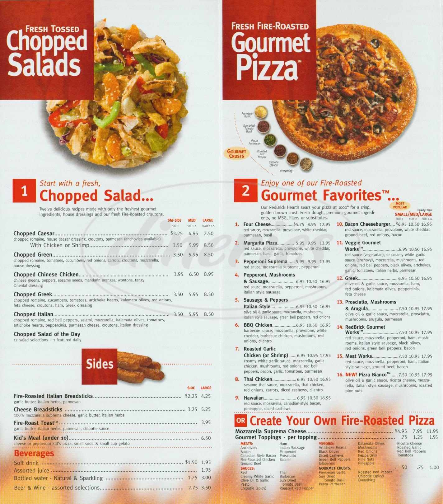 Big menu for Red Brick Pizza, San Bernardino