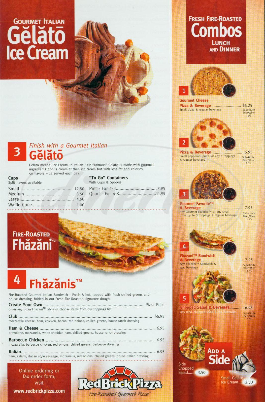 menu for Red Brick Pizza