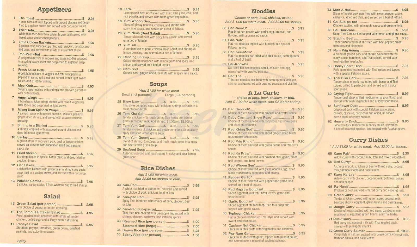menu for Patakan Thai Restaurant