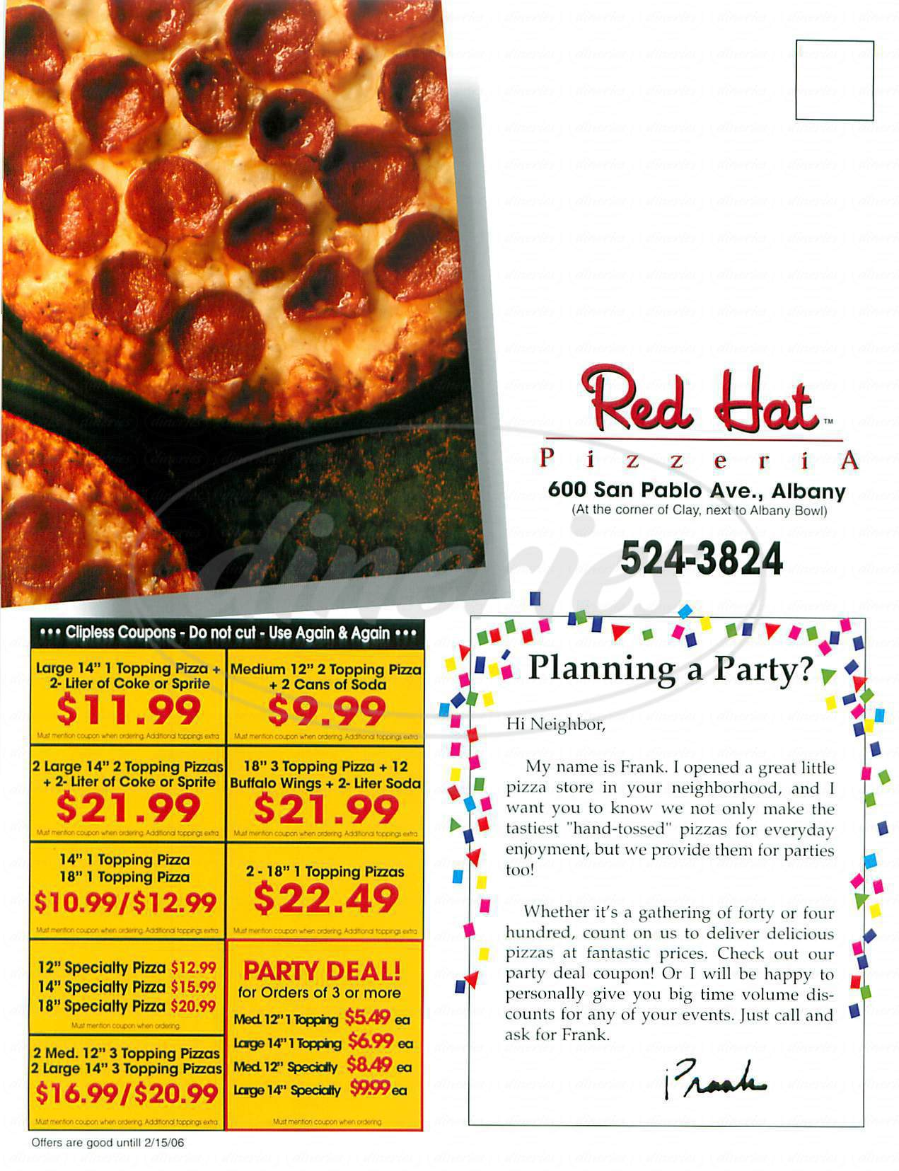 menu for Red Hat Pizza