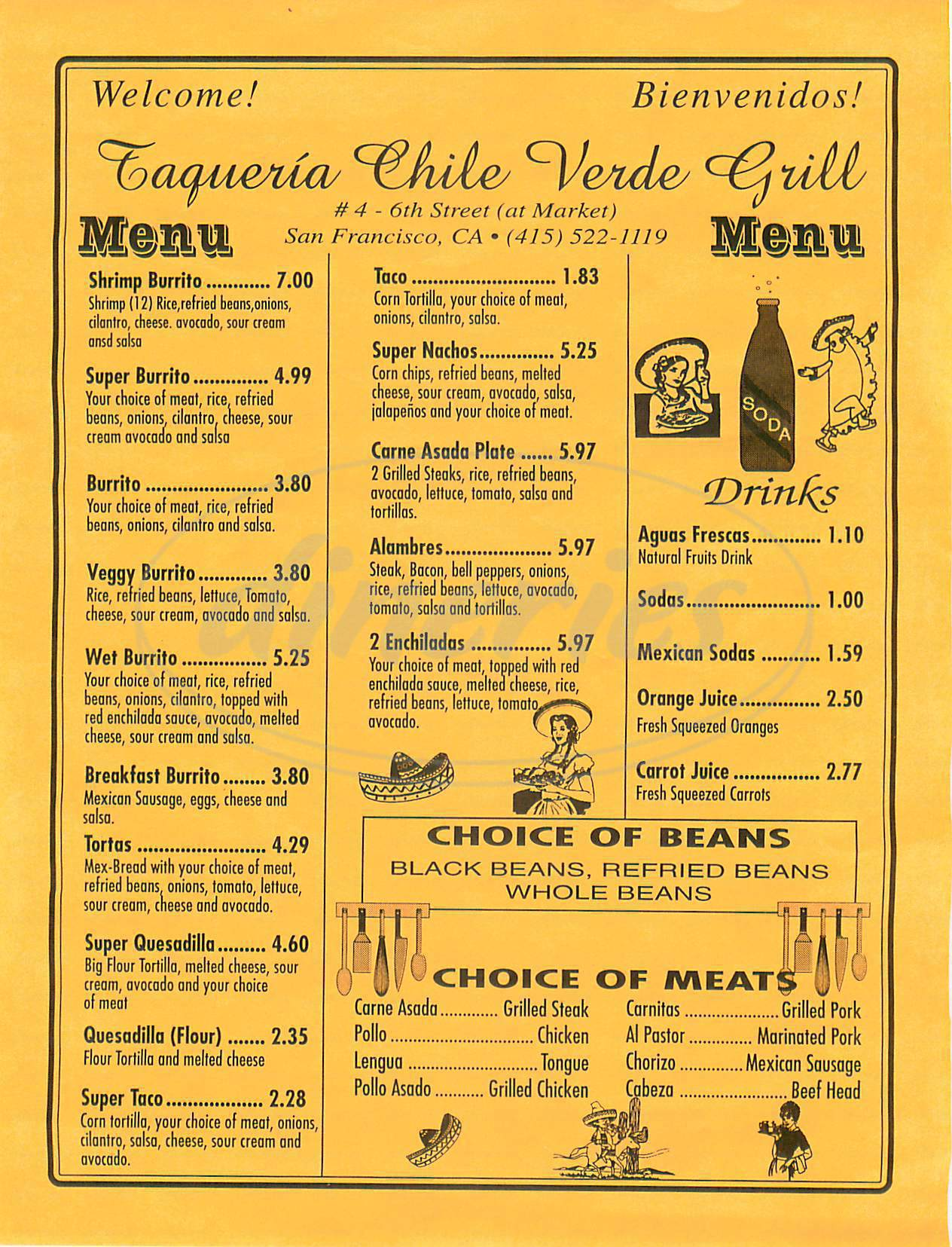 menu for Chile Verde Grill