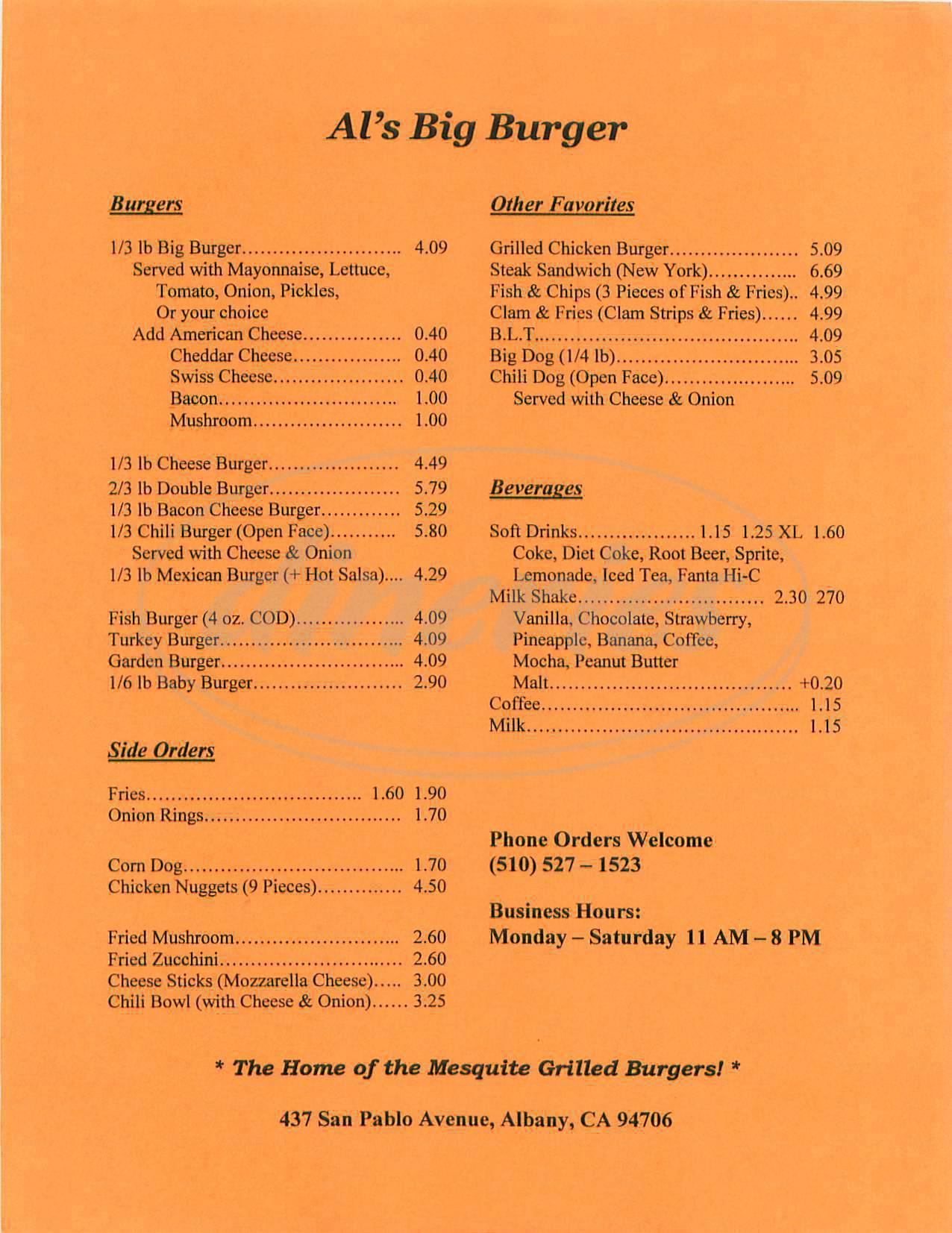 menu for Als Big Burger