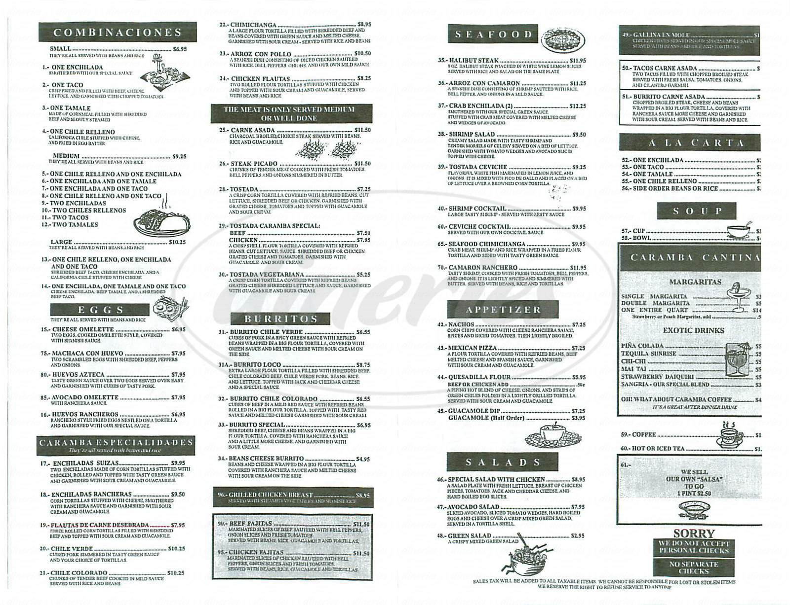 menu for Caramba Mexican Restaurant