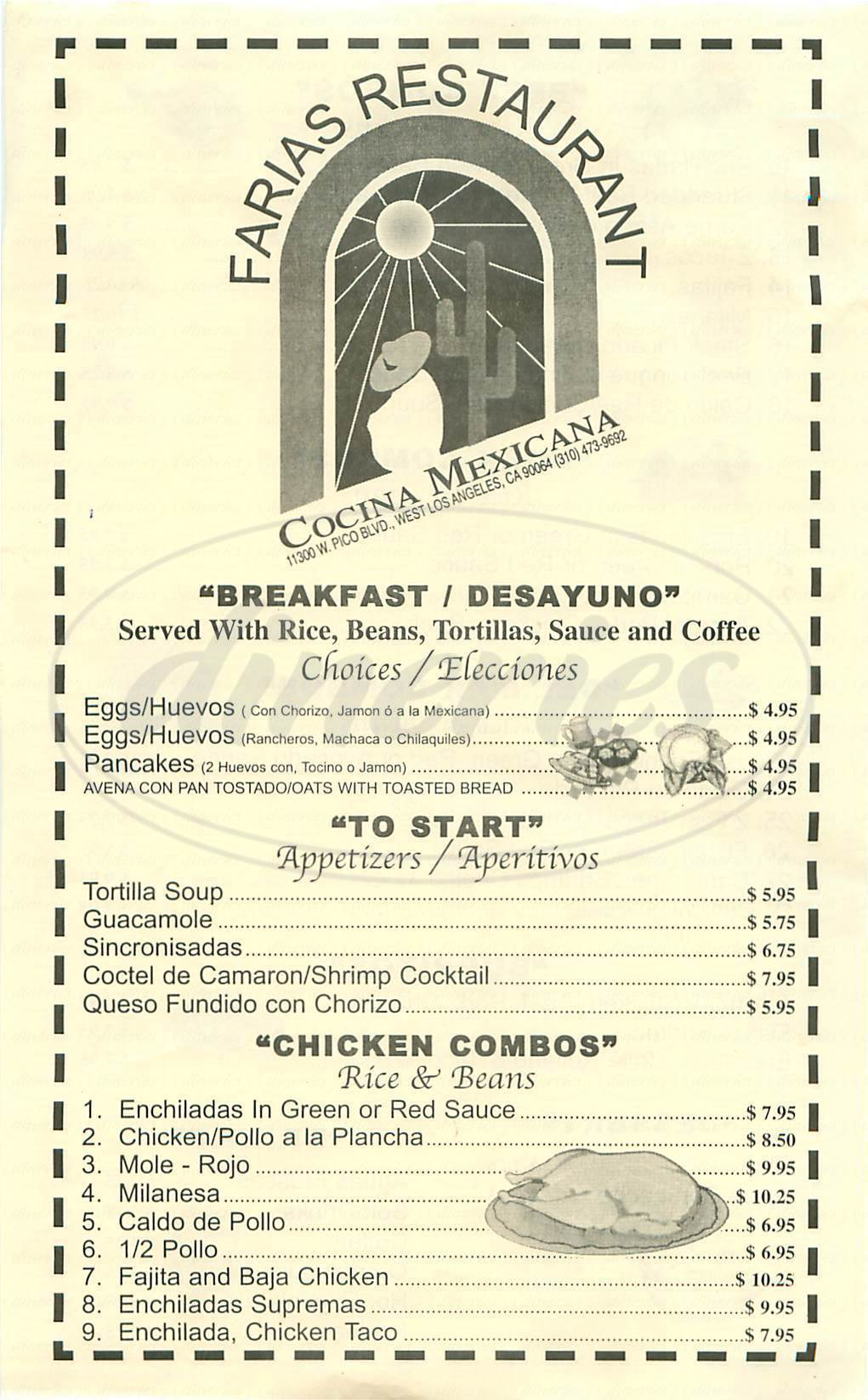 menu for Farias Restaurant
