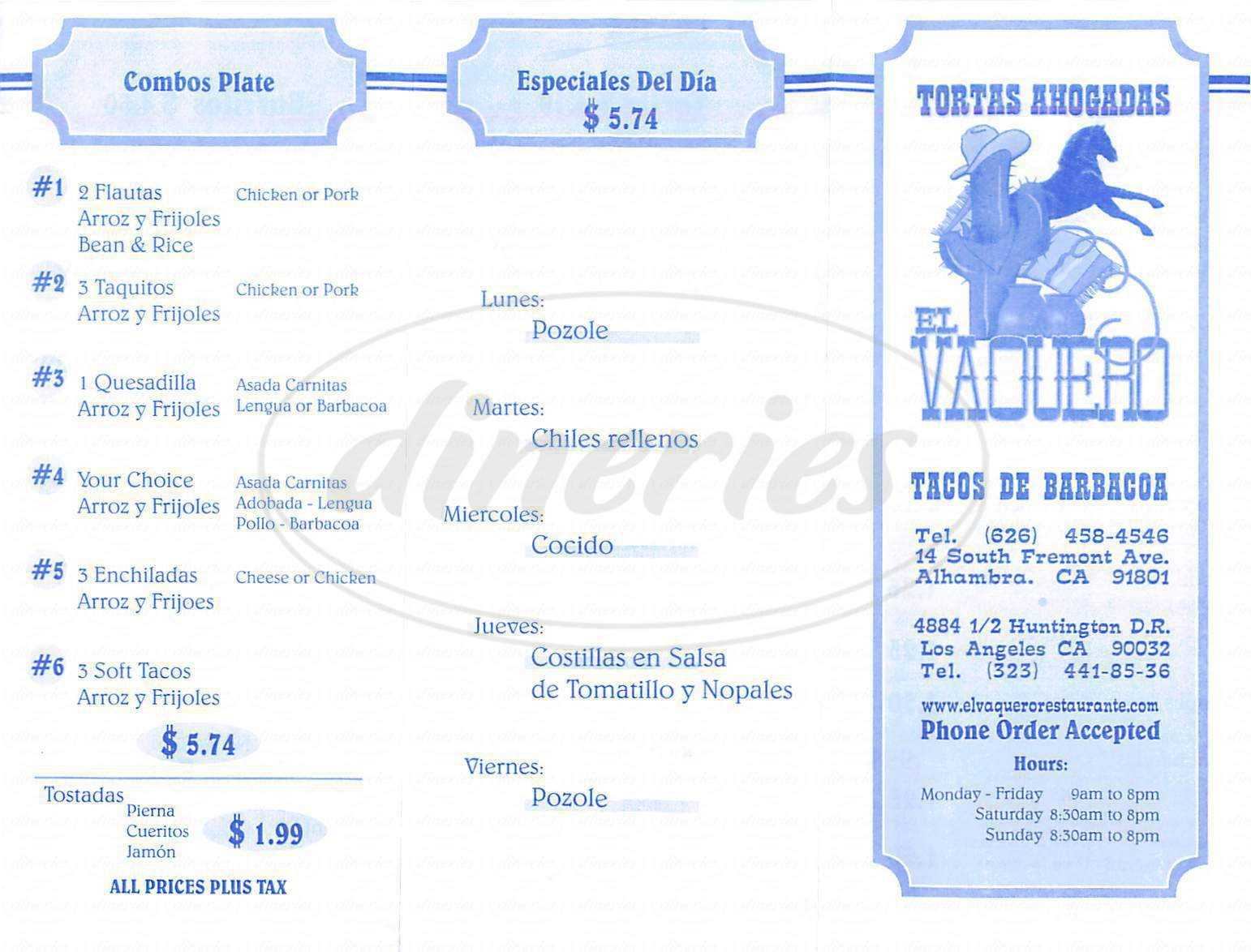 menu for El Vaquero