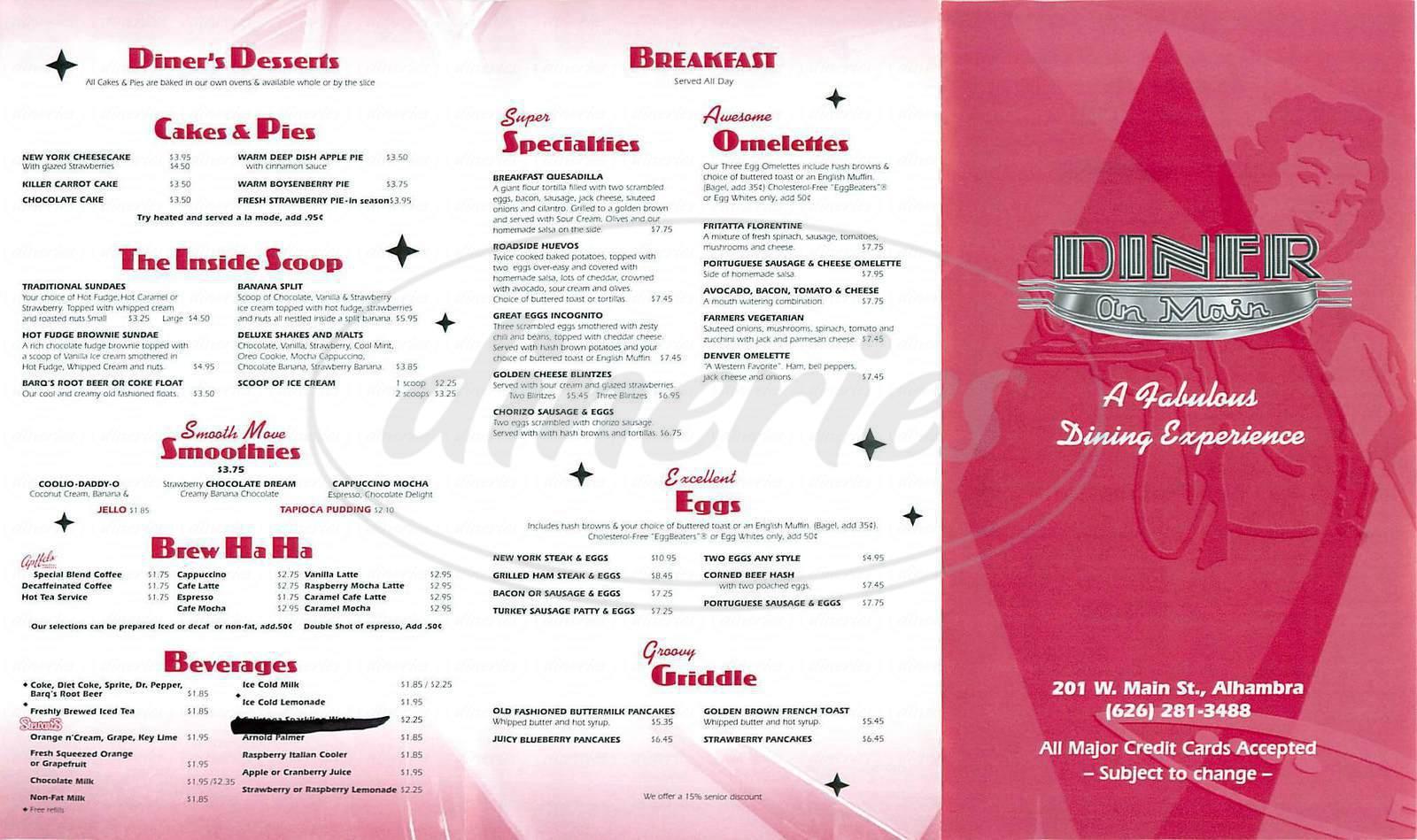 menu for Diner On Main